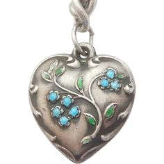 Sterling Silver Puffy Heart Charm - Spray of Enameled Forget-Me-Not Flowers - Engraved 'Dan'