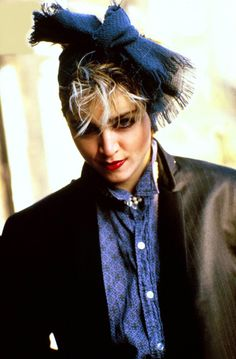 Madonna in London Photo Shoot, 1983/ Remindz me of my sophmore year book photo. I did that same look down to the scarf in her hair...