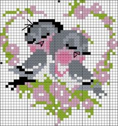 amour - love - oiseau - coeur - point de croix - cross stitch - Blog : http://broderiemimie44.canalblog.com/ Cross Stitch Heart, Cross Stitch Cards, Cross Stitch Animals, Cross Stitch Flowers, Cross Stitching, Cross Stitch Embroidery, Canalblog Com, Loom Beading, Beading Patterns