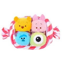 Disney Japan will release a special edition Candy Tsum Tsum set featuring Winnie the Pooh, Piglet, Mike, and Sulley dressed in candy wrappers. The Tsum Tsum Tsum Tsum Bag, Tsum Tsum Sets, Tsum Tsum Party, Disney Tsum Tsum, Disney Toys, Disney Pixar, Disney Plush, Mike And Sully, Disney Store Japan