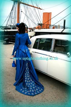 STUNNING period inspired,COUTURE blue victorian style riding dress with peacock feathers embroidary WEDDING DRESS BY UPTIGHT CLOTHING