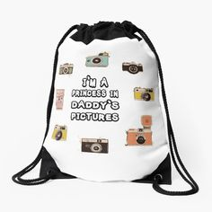 """"""" I'm a Princess In Daddy's Pictures - Father Son Matching Shirts - Camera Shirt """" Drawstring Bag by hiwaga   Redbubble Father Son Matching Shirts, Im A Princess, Father And Son, S Pic, Drawstring Backpack, Sons, Daddy, Backpacks, Flowers"""