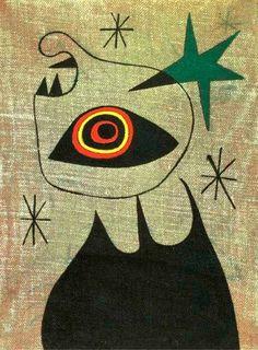 Joan Miró - 'Femme, Étoiles' - (1944) - (Oil on canvas)