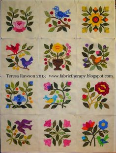 """All """"Song of Spring"""" blocks are finished.and the sale is OVER! Motifs Applique Laine, Applique Quilt Patterns, Hand Applique, Applique Designs, Embroidery Patterns, Quilting Projects, Quilting Designs, Caswell Quilt, Motifs D'appliques"""