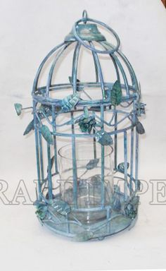 Cage T-light with stone finish