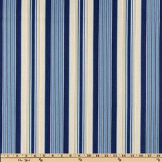 Waverly Siene Stripe Indigo from @fabricdotcom  Screen printed on cotton, this medium weight fabric is appropriate for draperies, duvets, pillows and even slip covers. Get creative with tote bags and aprons, too! Colors include sand, white/ivory, medium blue and indigo.