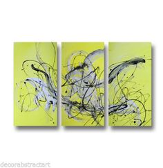 3 Abstract Canvas Painting Yellow Modern Wall Art Artwork | eBay