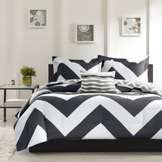 The Pisces duvet cover adds a dramatic pop to your bedroom with a bold black and white chevron print that creates a fun vibrant look to any bedroom. A smaller scale gray and white chevron print covers the reverse.