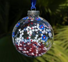 Red White and Blue Christmas Ornament Hand Painted Patriotic Fireworks Glass Hanging: