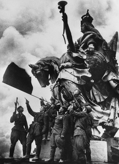 Jubilant Red Army soldiers, April - May 1945