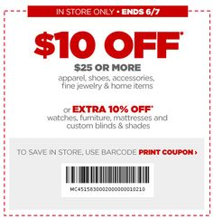 e634f51a6 JCPenney    Coupon to Save  10 off  25 Purchase! Compras