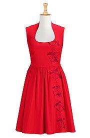 Floral vine embellished poplin dress, eshakti. To-get list.