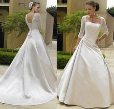 Sexy Open Back Lace Up Elegant Wedding Gowns for Bride Trajes De Novia Stain Ball Gown Wedding Dresses Plus Size With Sleeves