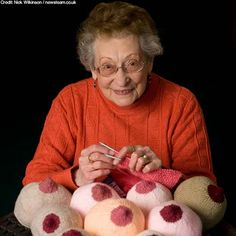 a 91 year old pensioner knits breasts, what a great lady. :)  These are knit but I still love it!