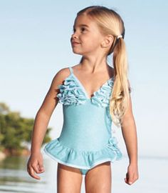 """Aqua petals swimsuit- wondering if this has too much """"boob"""" :-/ Cute Young Girl, Cute Little Girls, Toddler Fashion, Kids Fashion, Fashion Outfits, Kids Boutique, Boutique Clothing, Dance Outfits, Kids Outfits"""
