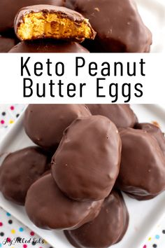 Just 6 Ingredients! These Keto Peanut Butter Eggs will fulfill your Easter craving. They are so close to the real thing my kids couldn't tell the difference! Healthy copycat Reese's. Low Carb, Gluten-Free, Sugar-Free, THM S Low Carb Candy, Keto Candy, Low Carb Sweets, Low Carb Desserts, Healthy Sweets, Low Carb Recipes, Diet Recipes, Sugar Free Desserts, Sugar Free Recipes
