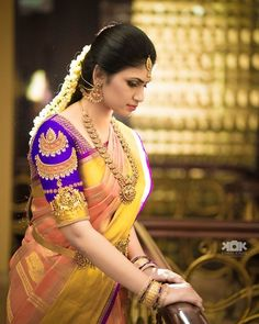 Image may contain: 1 person, standing and closeup Wedding Saree Blouse Designs, Pattu Saree Blouse Designs, Blouse Designs Silk, Blouse Patterns, Wedding Saree Collection, Wedding Silk Saree, Bridal Sarees, Indian Bridal Hairstyles, South Indian Bride