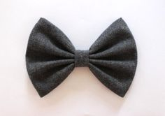 4 or 4.5 dark gray fabric hair bow clip gray by TwinkleMingle
