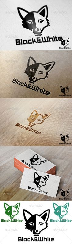Black and White Fox — Photoshop PSD #head #brand • Available here → https://graphicriver.net/item/black-and-white-fox/7043122?ref=pxcr