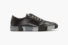 """COMME des GARÇONS SHIRT Leather """"Black & Grey Camo"""" Sneakers"""