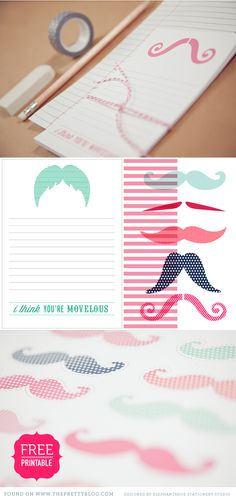 FREE printable mustache notes