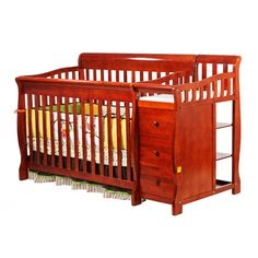 Dream On Me 4 in 1 Brody Convertible Crib with Changer in Cherry - 620-C