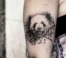 Perfect black and grey realistic tattoo style of Panda motive done by artist Bro Studio Hot Tattoos, Couple Tattoos, Trendy Tattoos, Body Art Tattoos, Animal Sleeve Tattoo, Animal Tattoos, Sleeve Tattoos, Tattoo Kits, S Tattoo