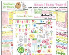 Printable Planner Stickers Kit Watercolor por DigiScrapDelights