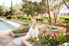 Wedding styled photo session at Clark Gardens in Weatherford, TX. Photo Credit: Swan Photography / Planner: Wisteria Lane Weddings / Floral: From A to Z Design / Venue: Clark Gardens / Dress: Bow and Arrow Bridal French Cottage Garden, Cottage Garden Design, Front Porch Garden, Garden Urns, Amazing Gardens, Beautiful Gardens, Rain Garden Design, Clark Gardens, Moon Garden