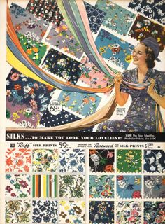 1938 fabric choices for dresses Vintage Textiles, Vintage Prints, Vintage Items, Vintage Sewing, Retro Vintage, Vintage Clothing, Vintage Outfits, Vintage Fashion, Vintage Wardrobe