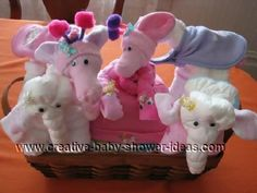 photo gallery of different diaper animals for a baby shower gift