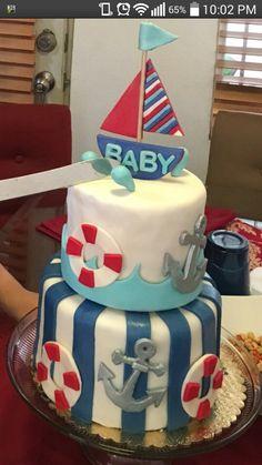 Baby shower navy anchor boat lifesaver oh boy fondant tiered cake pastel 100% casero fresh homemade baking #tulipáncupcakes en facebook