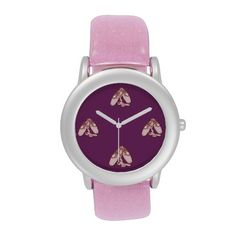Ballet Shoes Childrens Watch.  Pink ballet slippers on each 1/4 hour creates an ideal wrist watch for a little girl.