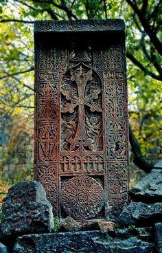One of the beautiful ancient khachkar stone carvings in Noratus, Armenia