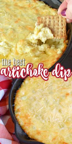 Creamy warm Artichoke Dip made with garlic lemon mozzarella cheese and loads of artichokes! This dip goes fast so be sure to scoop yourself some before it's gone!