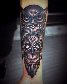 Guys Owl Skull Forearm Tattoo Designs