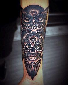 Guys Owl Skull Forearm Tattoo Designs