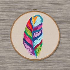 Striped Feather  PDF Cross Stitch Pattern - beautiful, rainbow, colorful feather