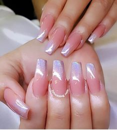 32 Trendy and Glamorous Ombre Coffin Nails for Your Inspiration Ombre nail designs are trendy and glamorous, so plenty of women are eager to have them. It seems very complicated at the first glance, but… Ombre Nail Colors, Ombre Nail Designs, Nail Art Designs, Gradient Color, Glitter Ombre Nails, Silver Glitter, Acrylic Nails Coffin Ombre, Glitter Toms, Blush Nails