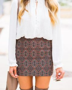 adore this print!!! would love this skirt if it were a bit longer. also need a longsleeve white shirt like this for work clothes!