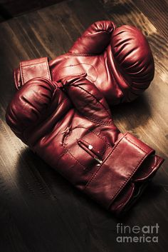 Retro style sportswear photo on a pair of red boxing gloves sitting on wooden training bench in a strength and competitive power concept by Ryan Jorgensen
