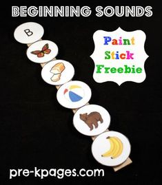 Beginning Sounds Velcro Paint Stick Activity Freebie via www.pre-kpages.com
