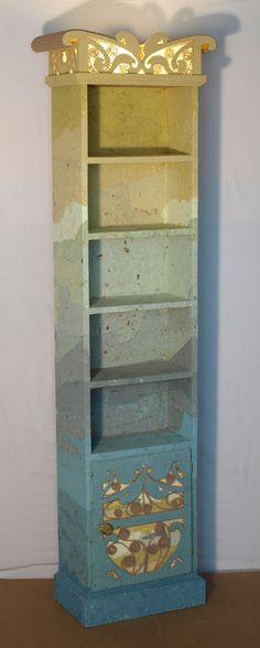 étagère meuble en carton, papier fait maison carton et racine,bois - tour a bois fait maison