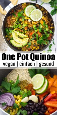 vegan one pot Mexican quinoa with black beans and corn is one of my favorite vegan weeknight dinners! It's super easy to make, incredibly healthy, and so delicious. Plus, it's packed with protein! Serve it with fresh parsley and avocado for an extra boost Vegan Dinner Recipes, Vegan Dinners, Veggie Recipes, Whole Food Recipes, Vegetarian Recipes, Cooking Recipes, Vegan Recipes With Black Beans, Vegan Quinoa Recipes, Recipes With Avocado