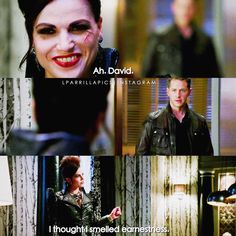 """Ah. David. I thought I smelled earnestness"" - The Evil Queen and David #OnceUponATime (by Lparrillapics)"