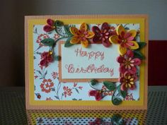 "Handmade Greeting Yellow Orange Paper Quilling Card ""Happy Birthday"" with Quilled Flowers (Birthday, Anniversary) by FromQuillingWithLove"