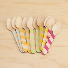 Striped Wood Ice Cream Spoons | 10ct