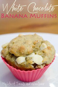 White Chocolate Banana Muffins | #Muffin #Banana #Chocolate #Recipe