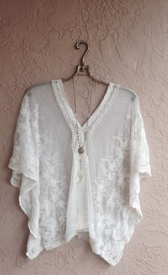 Image of Romantic lace kaftan for beach days resort wear