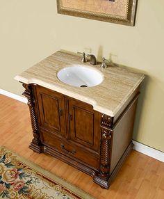 Silkroad 36 inch Antique Bathroom Vanity Walnut Finish, Roman Vein-Cut Travertine Counter top 869.00